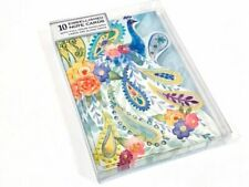 PUNCH STUDIO GOLD FOIL EMBELLISHED NOTE CARDS PAISLEY PEACOCK SET OF 10