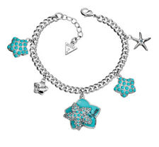 Guess Bracelet Hand Chain ubb41203 Silve Plated with Turquoise Coloured Charm