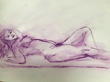 Watercolor pencil drawing of a reclining female nude