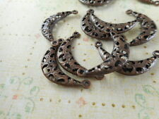 50 Antique Copper Plated 2 Loop Filigree Moon Connectors Findings 61400