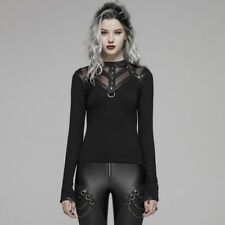PUNK RAVE Fashion Black steampunk visual kei Top T-shirt women longsleeve blouse