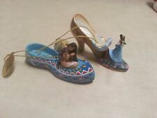 Disney's Once Upon a Slipper Ornaments - Tiana and Pocahontas Shoe Figures