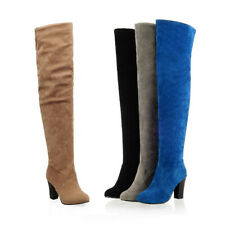 Plus Size Womens Suede Thigh High Boots Block Heels Zip Over The Knee High Boots