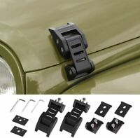 Black Stainless Steel Hood Latch Hood Catch Kit for 2007-18 Jeep Wrangler JK A