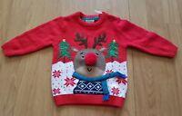 F&F Baby Boys Girls Red Christmas Jumper 3-6 Months Rudolph Reindeer NEW