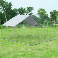 Large Walk In Chicken Coop Run House Shade Cage 10'x13' with Roof Cover Backyard
