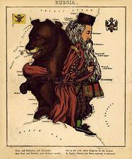 Carte antique CARICATURE Harvey 1868 Russie vieux grand imprimé Poster réplique pam0737