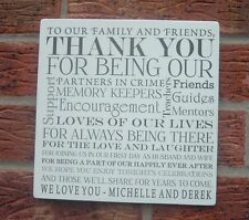 shabby and chic wedding thank you family friends personalised names plaque/sign
