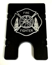 Billet Vault Aluminum Wallet RFID protection black anodized, Fire Fighter