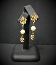 Vintage Gold Coloured Cast Rose & Pearl Drop Earrings