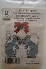 Old Fashioned Christmas Mistletoe Mice Counted Cross Stitch Kit