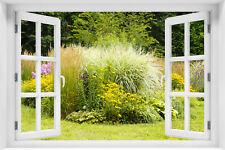 Wandillusion Wandbild FOTOTAPETE Fensterblick Blumen Gärten PVC/VLIES - kr-107
