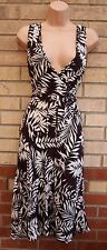 Brown white Palm Floral Print Belted LIPPY Col V Thé rare robe 14 l