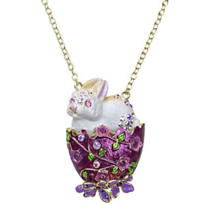 "Kirks Folly Bunny Kisses & Easter Egg Necklace Goldtone 3"" x 2"" Centerpiece"