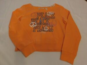 Justice Girl's Youth Long Sleeve shirt Peace shirt Size 14 Lt Orange GUC