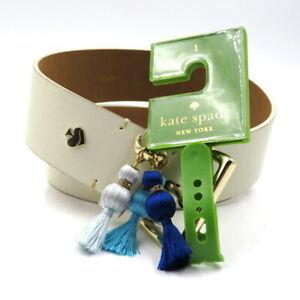KATE SPADE NEW YORK Size L Ivory White Leather Gold Hardware Tassel Trim Belt