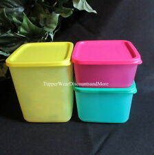 Tupperware NEW Set of 3 Modular Square Rounds Storage Containers Pink Green