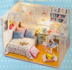 DIY Dollhouse Room Box Adabelle's Room Miniatures Kit 14 yrs & Up w/ Dust Cover
