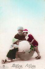 BL123 Carte Photo vintage card RPPC Enfant fantaisie boule de neige mode fashion