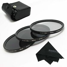 67MM RISE(UK) Photo Neutral Density ND 2 4 8 Lens Filter Kit for Canon Nikon+GIF