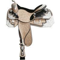 """Western show saddle 16"""" on eco leather buffalo on drum dye finished"""