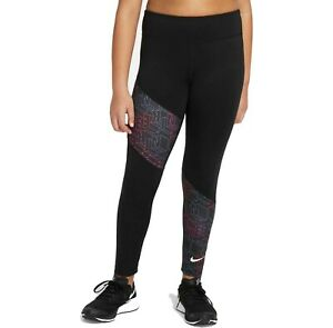NWT Girl's Nike Trophy Printed Training Leggings Black Size Large $35.00