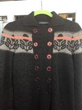 Orla Kiely Double Breasted Stem Intarsia Sweater Coat Long S