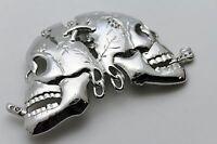 Men Women Belt Buckle Silver Metal Fashion Skeleton Skull Halloween Gothic Big