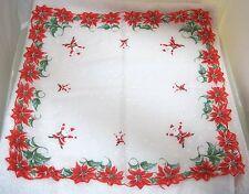 Vintage Christmas Hankie Poinsettias White on White Stars & Jumping Santa's