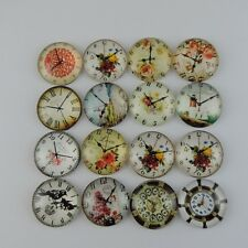 12PCS Multi Pattern Round Clock Glass Cabochons Craft Accessory 25*25*6mm 39099