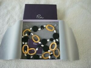 Pia, long threaded bead necklace - black, orange & pearl beads - no fastener