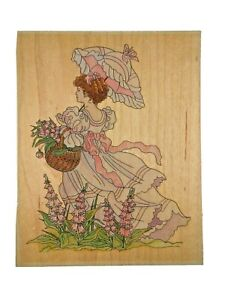 Lady With Parasol Stamps Happen 80009 Wood Mounted Rubber Stamp