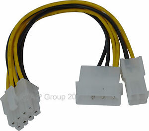 4 & 4 to 8 pin  Molex (LP4) & 4 pin ATX to 8 Pin EPS Power Adapter Cable 15cm