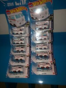 LOT OF (10) KOOL KOMBI HOT WHEELS,WHITE,HELLO KITTY,NEW FOR 2021,C CASE,LOOK!!!!