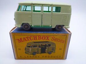 VINTAGE MATCHBOX LESNEY No.34b VW SPLIT SCREEN CAMPER BUS IN ORIGINAL BOX 1962