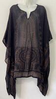 Earthbound Trading Women's Black/Golden Ganesha Print Size M Kimono Top- M30