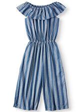a3f02a71e8bd NEW Girls Wonder Nation Denim Look Stripe Cotton Gaucho Jumpsuit Plus L  10-12