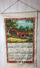 VINTAGE 1976 LINEN CALENDAR COVERED BRIDGE FABRIC COUNTRY FARM HOUSE