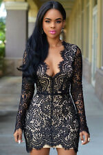 New Elegant Black & Nude Lace Mini Bodycon Dress Club Party Wear Size UK 10-12