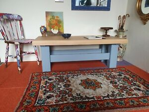 Rustic Farmhouse Country Cottage Solid Heavy Oak Coffee Table Painted Stripped