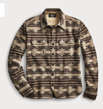 $795 New Ralph Lauren RRL Knit Wool-Cashmere Shirt Jacket XS Southwest Brown
