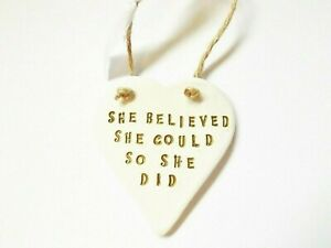 She Believed Inspiring Quote Heart Home Decor Positive Motivational Gift For Her