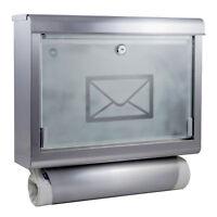 Edelstahl Briefkasten mit Zeitungsrolle Postkasten Hausbriefkasten Zeitungsfach