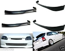 2 X 99-00 CIVIC HATCHBACK TYPE R PU BLACK ADD-ON FRONT + REAR BUMPER LIP SPOILER