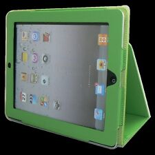 New Apple iPad 3 iPad2 Premium Leather Case Pouch Flip Stand (PU)--Green