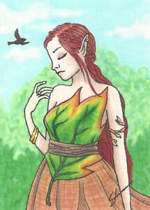 ACEO Original Ink and Copic Marker - Red Haired Fae