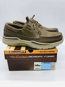 Skechers Men's Boat Shoe Relaxed Fit Air Cooled Memory Foam Leather - Brown
