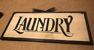 Laundry Room wooden sign country primitive wood farmhouse wall art decor  5x12""