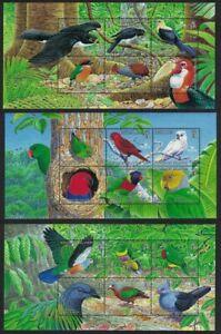 Solomon Is. Toucan Dove Parrot Hornbill Coucal Birds 3 Sheetlets 2005 MNH