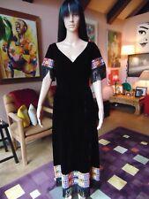 60's Black Velvet Long Dress With Fringe